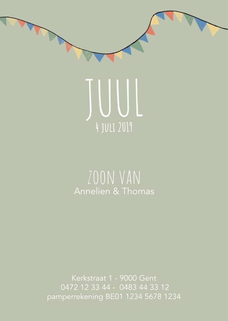 Geboortekaart Juul (achterkant)